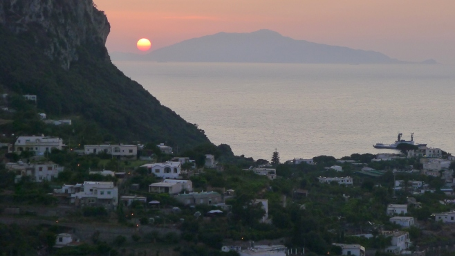 Sunset over Ischia as seen from Capri