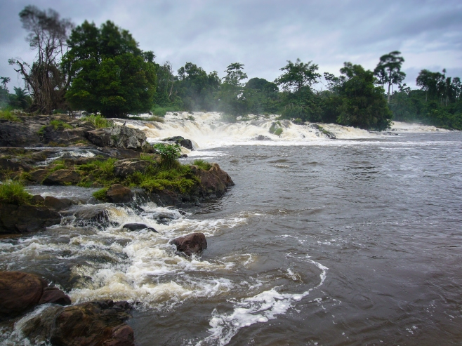 Only African waterfall into Atlantic Ocean, Kribi, Cameroon